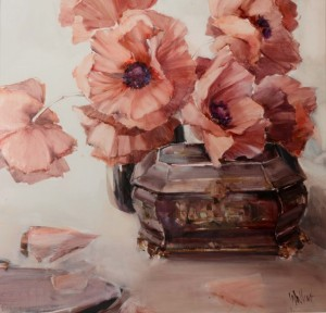 'Chinese Box with Pink Flowers' by Ethel Walker